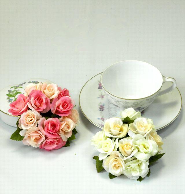 【造花リース】ミニミニ・ローズリース(ピンク系)