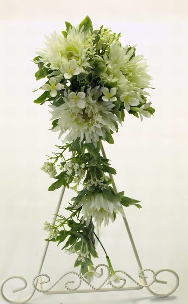 【造花リース】ガーベラガーランド・ミニリース(ホワイト)