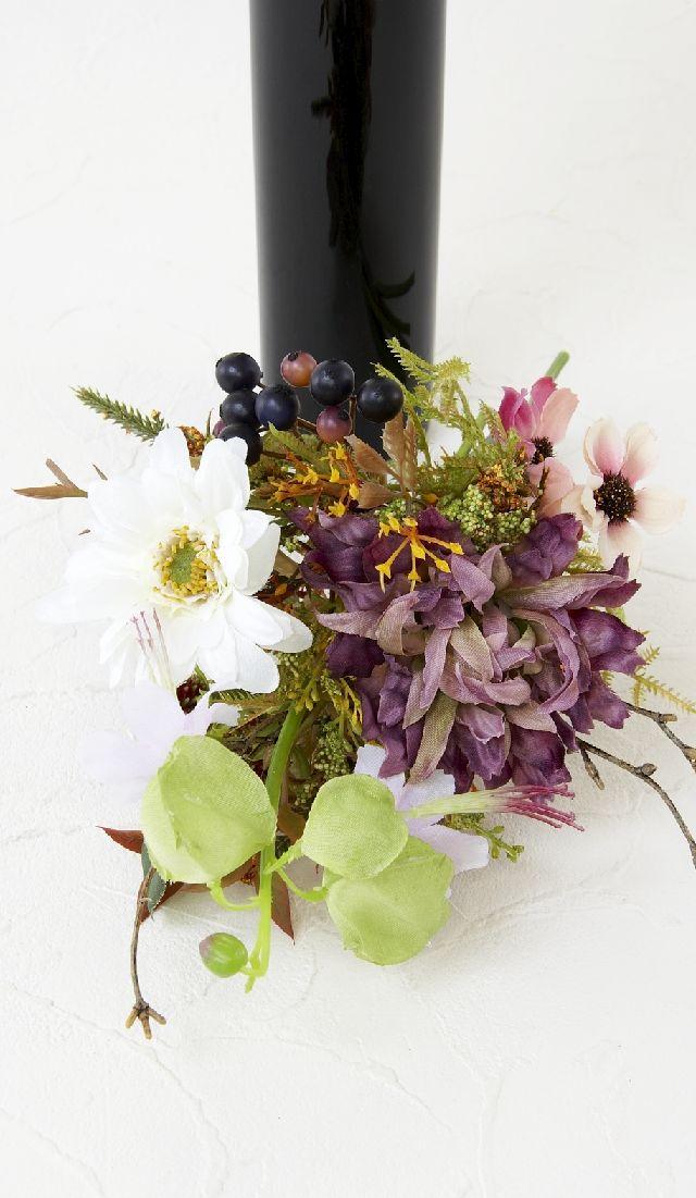 【造花仏花】大輪菊とデルフィニュームのプレミアム仏花-1対