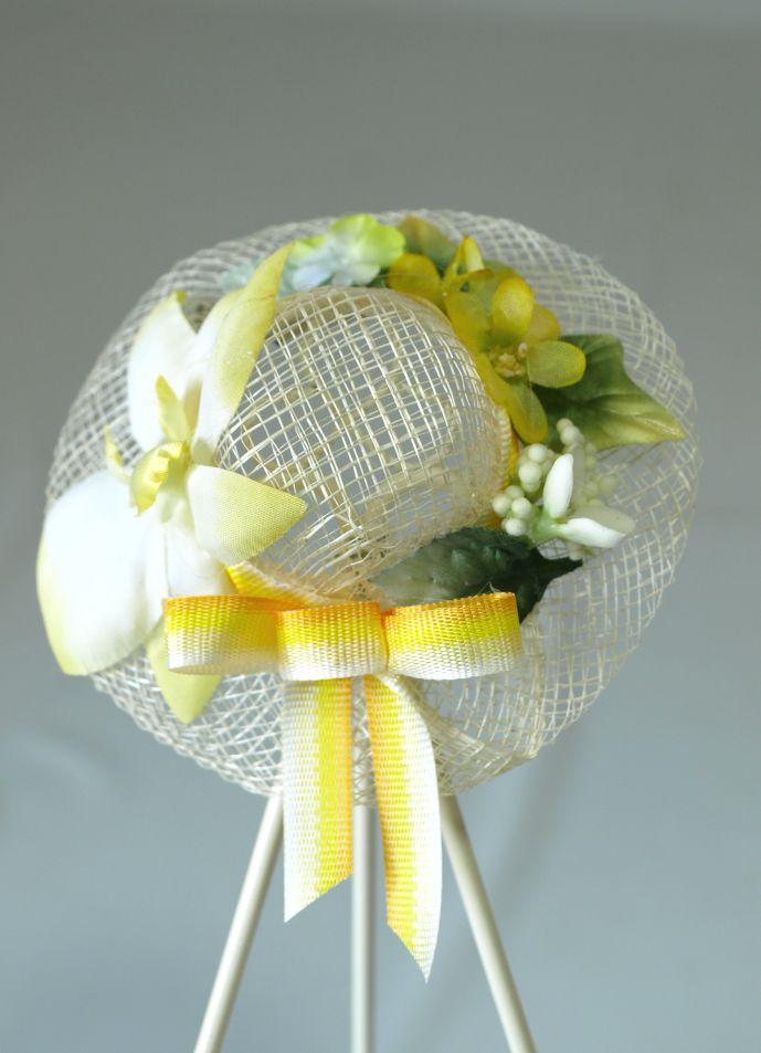 帽子のコサージュ&髪飾り(両用タイプ/イエロー系)