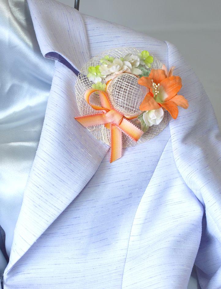 帽子のコサージュ&髪飾り(両用タイプ/オレンジ系)
