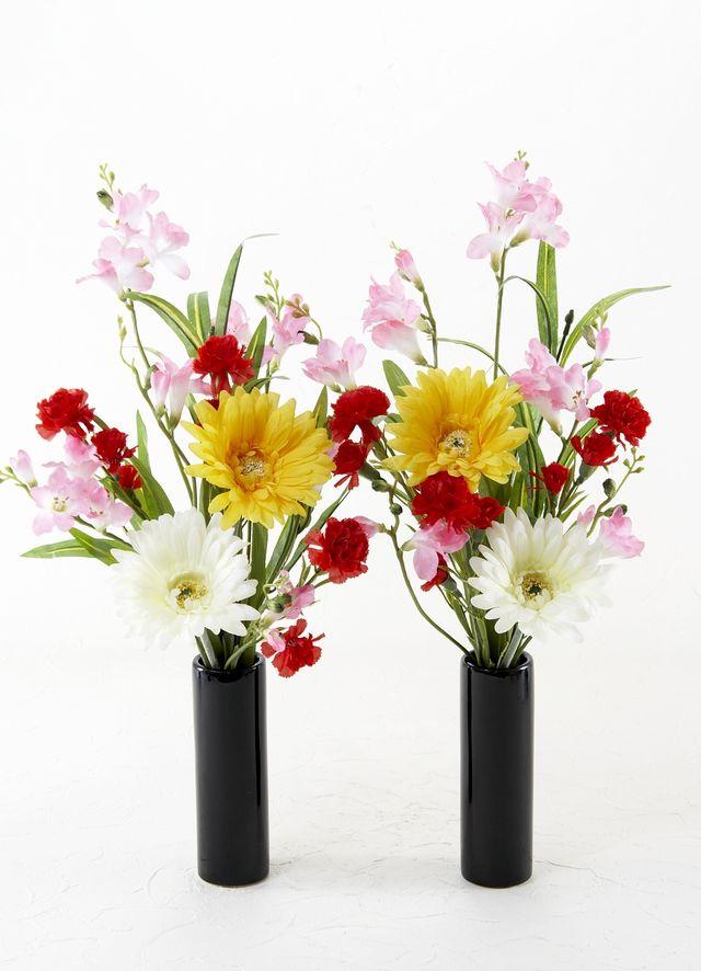 【造花 供花】ガーベラ&マム&鈴蘭のミニ仏花セット(左右1対)