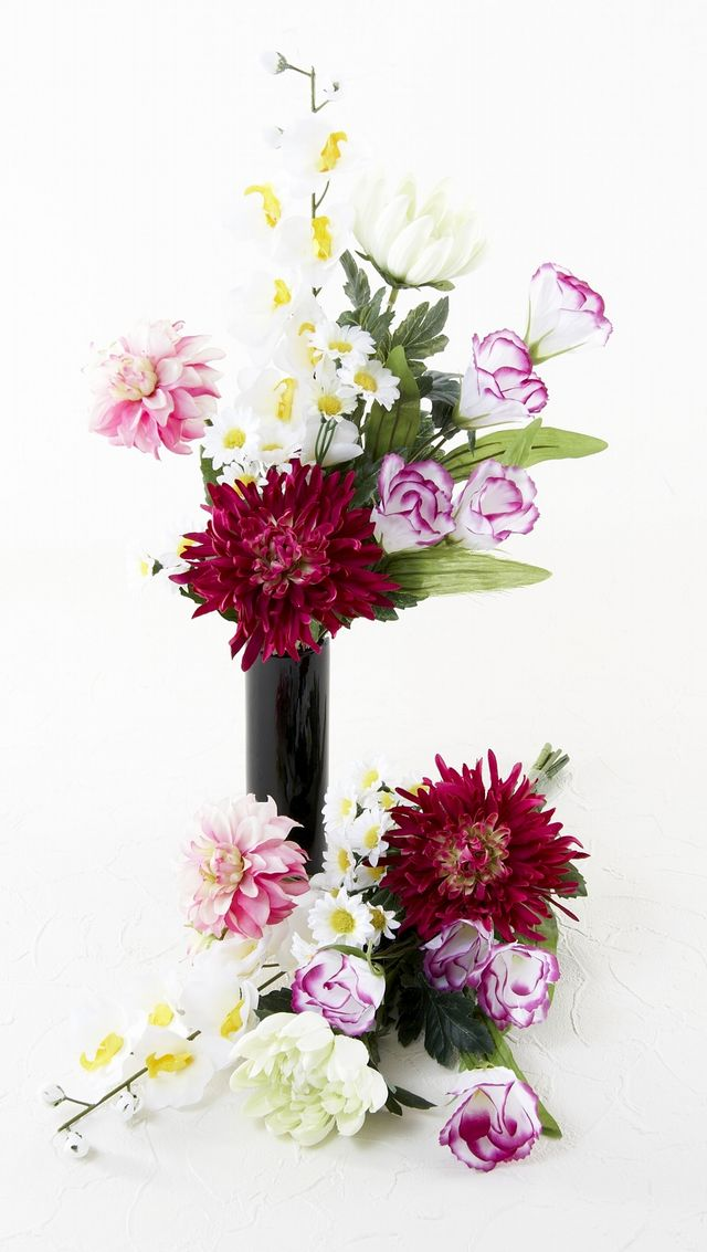 【造花仏花】デルフィニューム&大輪菊&トルコキキョウのメモリアル供花-1対