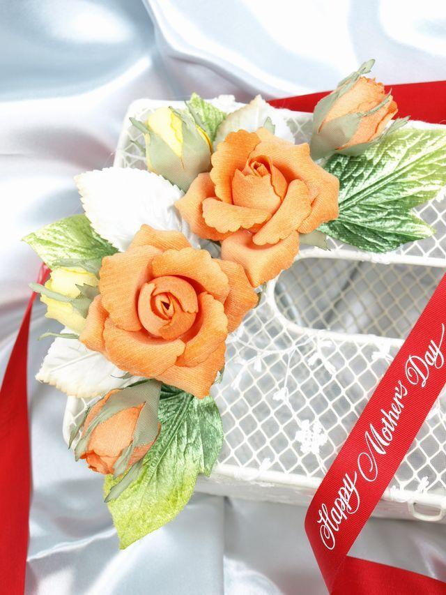フラワーティッシュケース(ベルベットローズ・オレンジ)