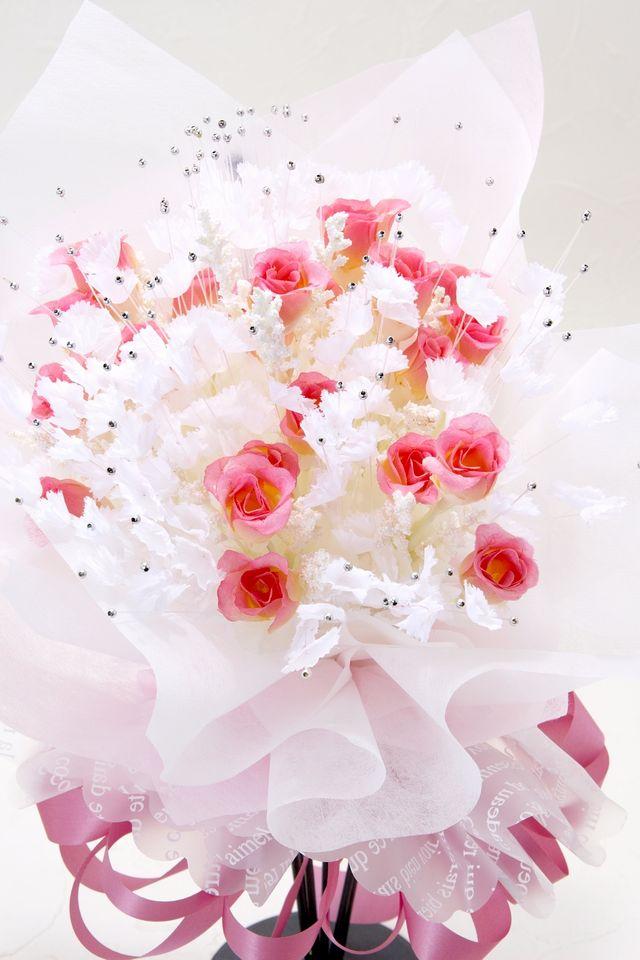【造花 花束】スィートシュガーローズブーケ(ホリデーピンク)