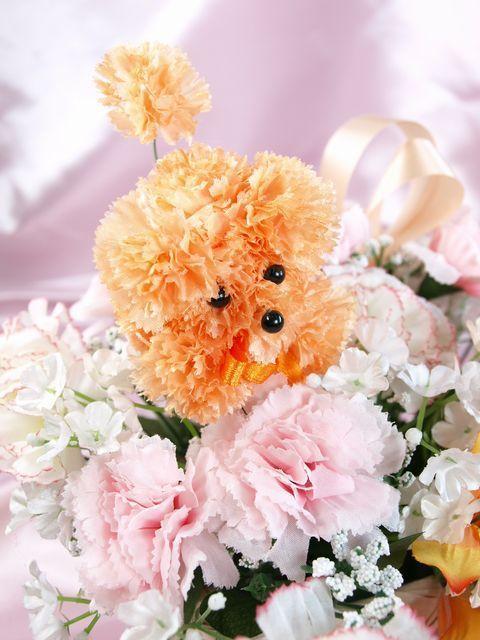 【造花アレンジメント】プリティー・カーネーションプードルDX(オレンジ)
