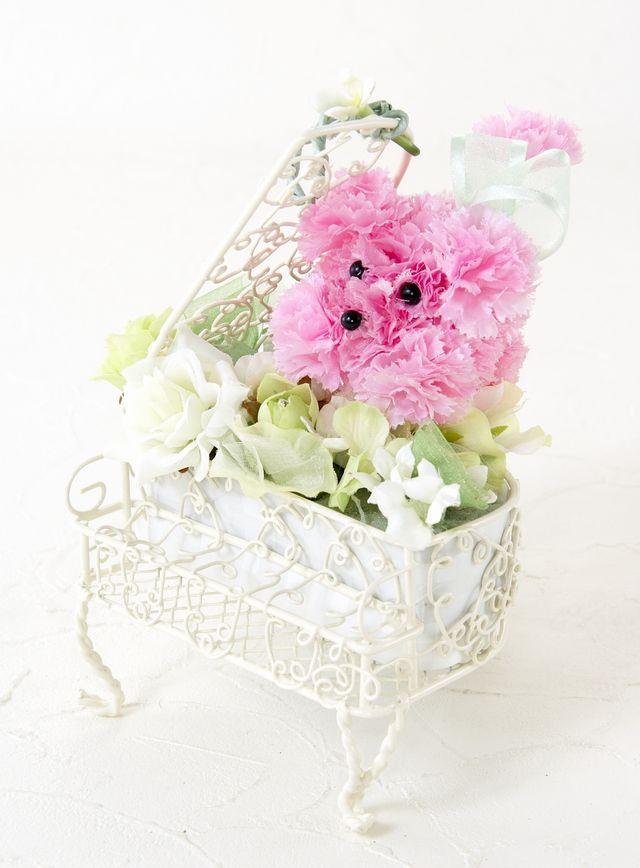 【ピアノ・プードルアレンジメント】ハーモニー・ホワイトグリーン×ピンク