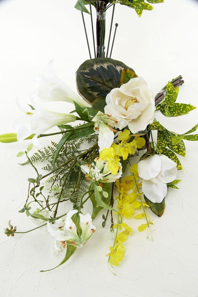 【造花 仏花】鉄砲百合&グロリオサのリフレッシング供花セット(左右1対)